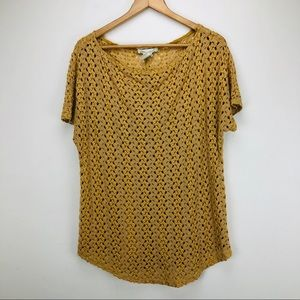 Staring At Stars Mustard Yellow Lace Knit Blouse M